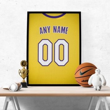 Los Angeles Lakers Gold Jersey Poster - Print Personalized Select ANY Name & ANY Number