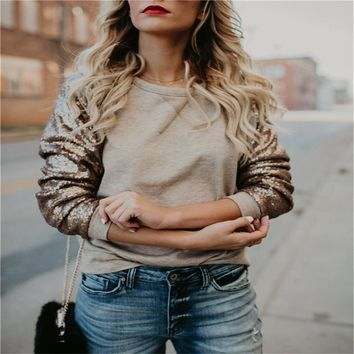 Trendy Women clothes Long Sleeve Pullover round neck Blouses sequin casual Casual Polyester Tops one pieces