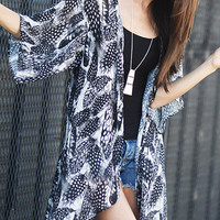 Set Me Free Feather Print Kimono Duster