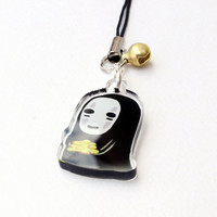 """No Face (Spirited Away) 1"""" Mini Acrylic Charm with Phone Strap (Double Sided Front & Back)"""