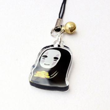 "No Face (Spirited Away) 1"" Mini Acrylic Charm with Phone Strap (Double Sided Front & Back)"