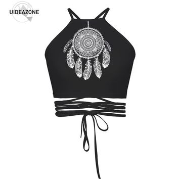 UIDEAZONE Cropped Top Female Halter Top Camis Vest Brandy Melville 3D Creative Sexy Debardeur Women Strappy Bustier Harajuku Top