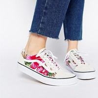 Vans White Floral Old Skool Trainers