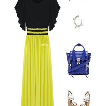 Yellow Patchwork Pleated Sashes Flutter Sleeve Homecoming Party Fashion Chiffon Maxi Dress