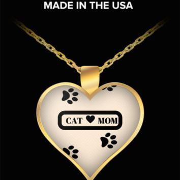 *Attention Cat Moms* Turn Your Jewelry into a piece of Purrrfect Cat Art! Hint: Purrfect Gifts for Cat Lover - Cat Mom Heart Necklace Pink