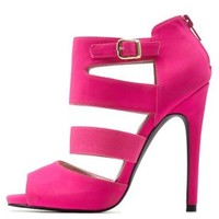 Hot Pink Qupid Cut-Out Caged Peep Toe Heels