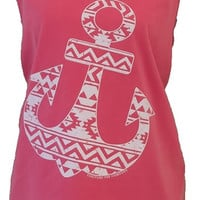 Southern Couture Aztec Tribal Anchor Watermelon Girlie Bright Tank Top Shirt