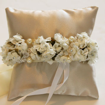 Ivory Ring Pillow for Dogs, Wedding Dog Accessory, Wedding Ring Bearer