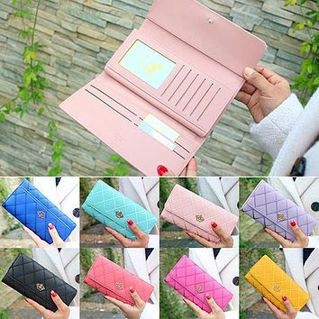 Women Quilted Crown Clutch Long Purse Faux Leather Wallet Card Holder Handbag