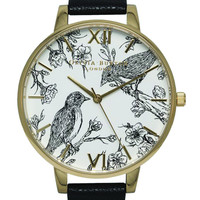 Olivia Burton Animal Motif Birds In Love Watch - Black & Gold