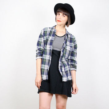 Vintage 90s Shirt 1990s Shirt Soft Grunge Shirt Navy Blue Dark Green Plaid Flannel Shirt Soft Worn Grunge Rocker Seattle Jacket Top M Medium