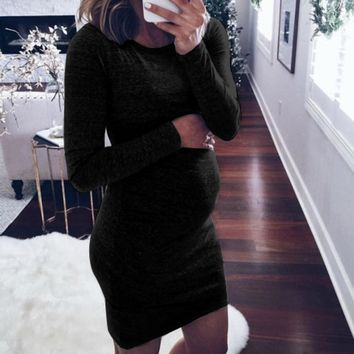 MUQGEW Fashion Women Pregnants Casual Dress O-Neck Long Sleeve Nursing Baby For Maternity Dress HIgh Quality maternity clothes