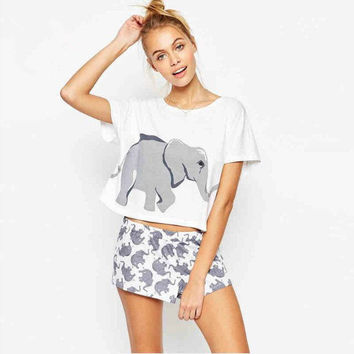 Elephant Print 2 Pieces Set Mix Size Crop Top + Shorts Knitted