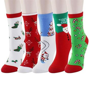 Women's Cute Christmas  Santa Claus Cotton Socks  5 Pairs  With Box Crew