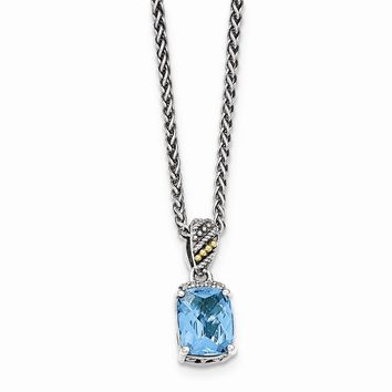 14K Two-Tone Gold Sterling Silver w/14k Diamond and Blue Topaz Necklace