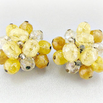Vintage Cluster Earrings, Light Orange Bead Earrings, Crystal Earrings, Clip-on Earrings, 1950s 1960s Mid-Century Modern Costume Jewelry