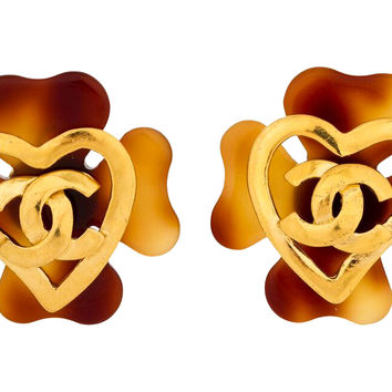 Chanel Faux-Tortoise Logo Heart Earrings