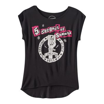 ''5 Seconds of Summer Derping Since 2011'' High-Low Tee - Girls 7-16, Size: