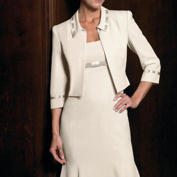Daymor Couture - Scoop Neck Sheath Dress with Long Sleeve Jacket 1130