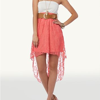 Belted Lace Skirt Tube Dress