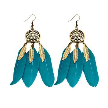 Ethnic Hot Indian Dreamcatcher Earrings Jewelry Gold Plated Feather BOHO Bohemia Vintage Statement Drop Earrings Women Fashion