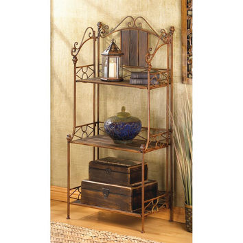 Bakers Rack-Scrolled Iron 3 Weathered Wood Shelves