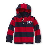 Long Sleeve Striped Hooded Henley | The Children's Place