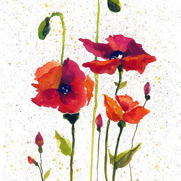 Red poppies watercolor - watercolor flowers - orange poppies - red poppies - flower art - flower garden - mothers day gift - gift for mom