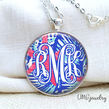 Lilly Pulitzer Inspired Monogram Necklace, Lilly Pulitzer Necklace, She She Shells Lilly Pulitzer, Personalized Lilly Pulitzer Necklace