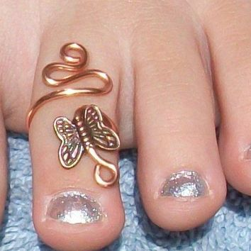 Copper Swirl Butterfly  Adjustable Toe Ring by circleinthewood