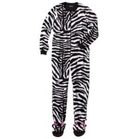 Nick & Nora® Women's Zebra Footie Pajama - Black/White S
