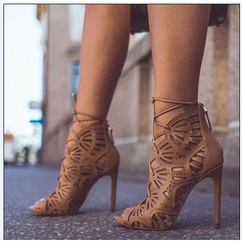 Cut Out Straps Peep Toe Stiletto High Heel Ankle Boot Sandals