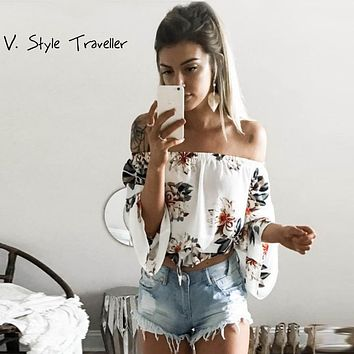 Sexy off Shoulder Flower Print Chiffon Blouse Women Chocker Shirt blusa Casual ropa mujer veste femme Summer Style Top Boho Tee