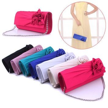 Fashion Women Evening Party Clutch Bag Purse Wallet Satin Prom Wedding Handbag with Chain Popular