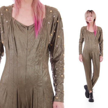 Studded Olive Shiny Leather Look Bodycon Catsuit Jumpsuit Gold and Silver Avant Garde Futuristic 80s 90s Vintage Clothing Womens Size Small