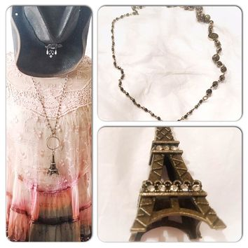 Eiffel Tower pendant necklace, French shabby chic necklace, Jewelry, true rebel clothing