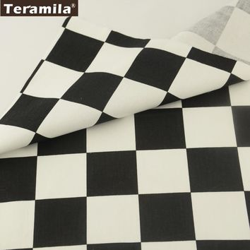 Teramila Fabrics Geometry Square Designs 100% Black And White Cotton Fabric Twill Material Quilting Clothing Bedding Decroation