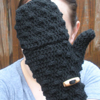 Black convertible Mittens Fingerless Gloves, crochet gloves, MADE TO ORDER.