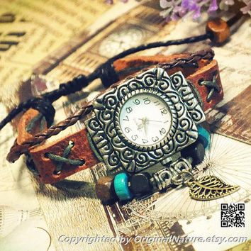 Retro Fashion Girl Jewelry Wrist Bangle Bracelet Women Girls Leather Watch (GA0015)