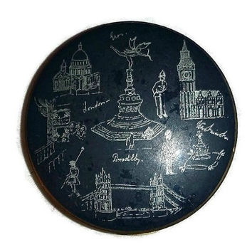 Vintage London STRATTON Compact, Navy Blue, Powder, London Landmarks, Souvenir, Vanity Beauty Makeup Collectible, England UK, British Gift