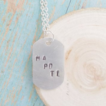 CHOOSE YOUR INITIALS / Custom Kid's Initials Necklace / Hand Stamped Jewelry / Dog Tag Necklace / Monogram Necklace / Children's Name Tag /