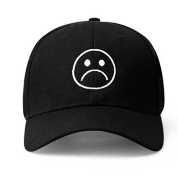 Trendy Winter Jacket Sad Boys Adjustable Hat crying face Baseball cap Hip hop Headwear Black Harajuku Skateboard Hats Curve Brimmed golf Caps AT_92_12