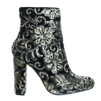 Blossom31 Black By Wild Diva, Metallic Sequins Floral Embroidered Chunky Block Heel Ankle Bootie