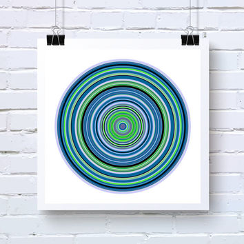 Blue, Green, and Black Geometric Art, Chemistry Wall Art, Living Room Abstract Generative Art, fine art photo print, ringsBlueGreen1f