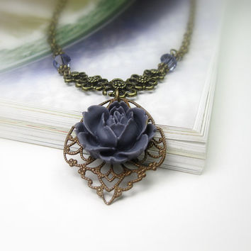 Purple Victorian Style Pendant Necklace, Trinity Brass, Art Nouveau, Tanzanite, Periwinkle , Swarovski, Romantic, Womens Accessories, Plum