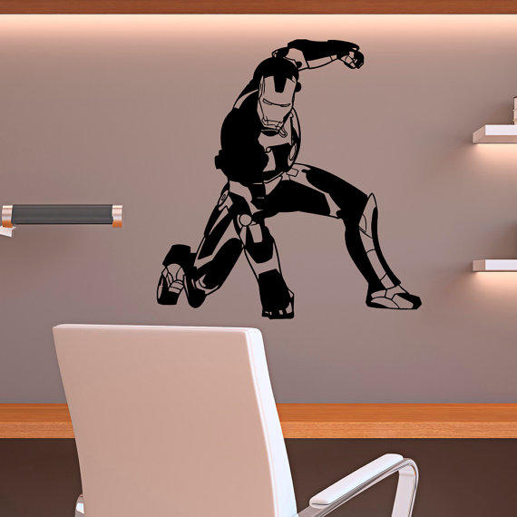 Wall Decor For Mens Bedroom 2 Bedroom Apartment Layout Ideas Bedroom Ideas Nz Bedroom Decor Black And Silver: Wall Decal Vinyl Stickers Iron Man From FabWallDecals On Etsy