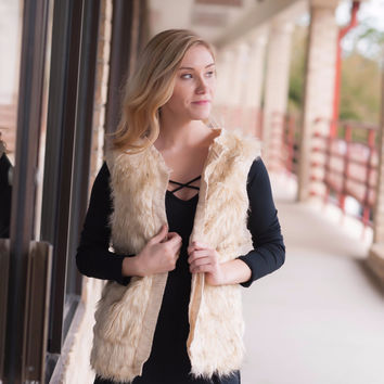 Soft Fur Vest- Tan