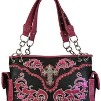 Western Laser Cut Handbag W/Bling Cross& Wings Handbag- Black & Hot Pink
