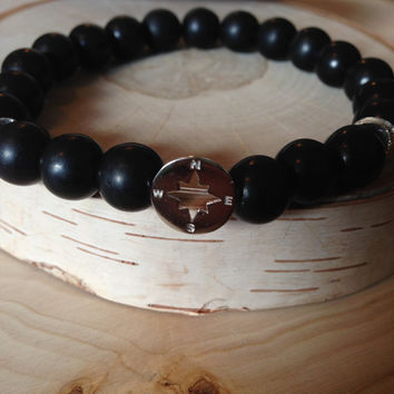 Find Your True North Black Bracelete, Matte Bracelete, 10mm Mens Bracelet, Also in women's Bracelete, Silver Compass Bracelete,