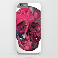 Vintage Anatomical Skull Grunge Pink Roses iPhone & iPod Case by Hyakume